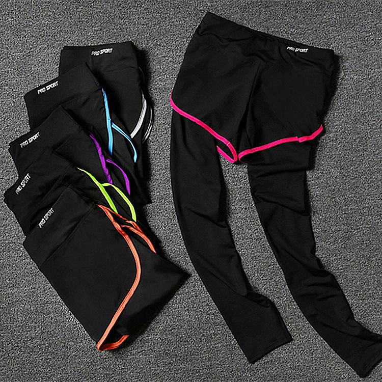 OEM wholesale buy False two pieces women's activewear trouser leggings exercise outfits