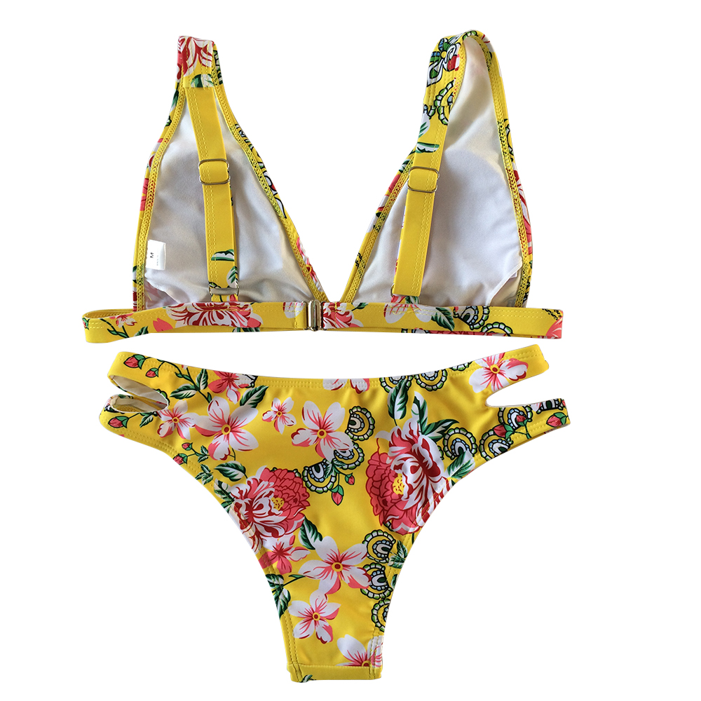 OEM Wholesale printed flowers halter bikini