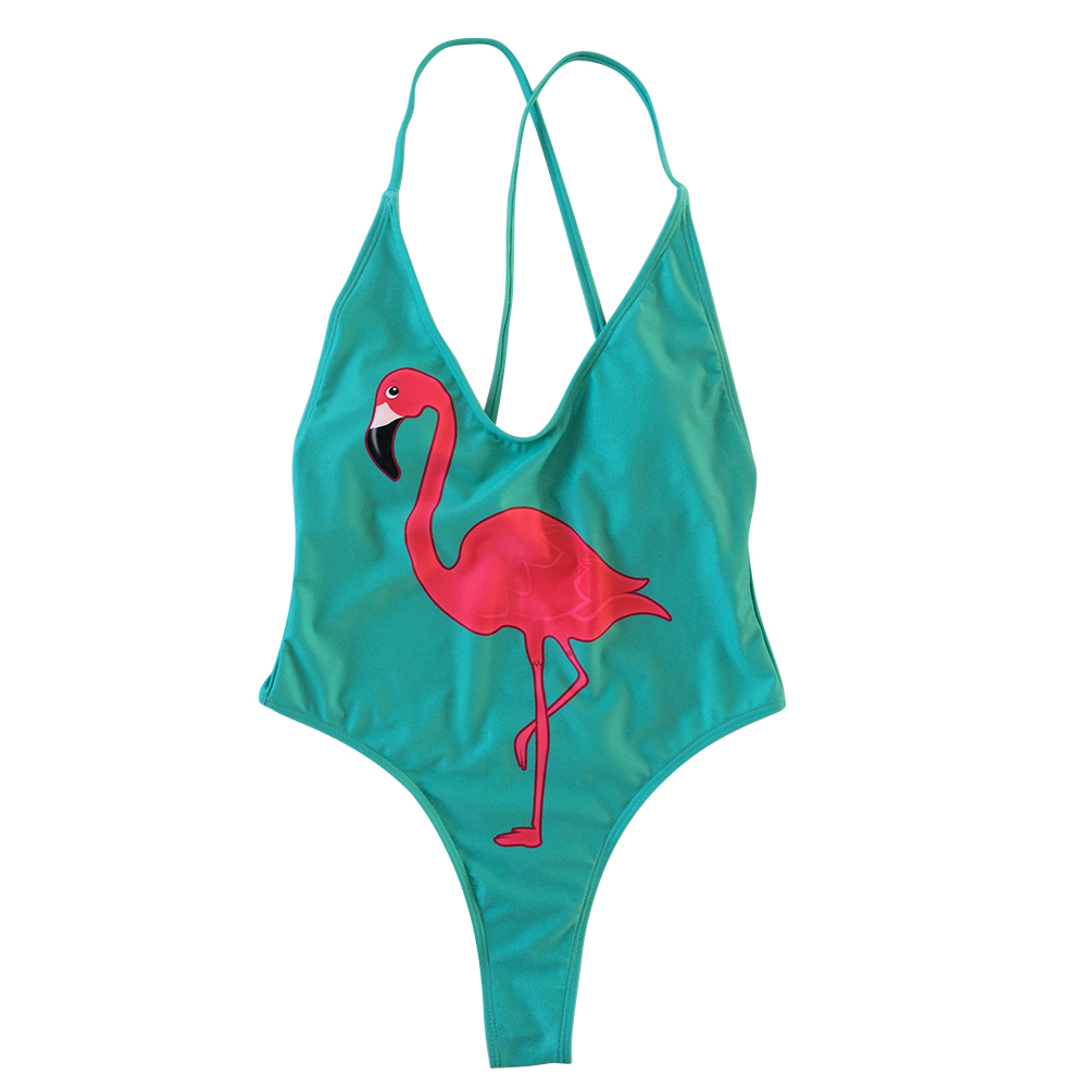 High cutted flamingo womens swimsuits
