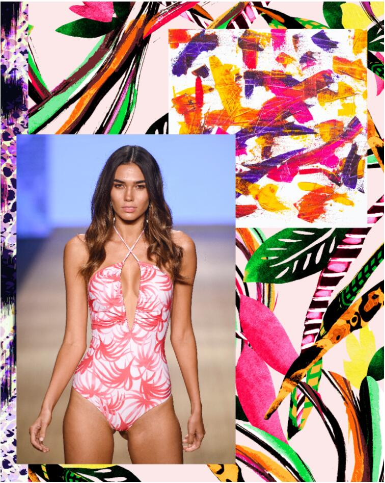 Tropical flowers and leaves are applied using arty brush paints to this swimwear trend