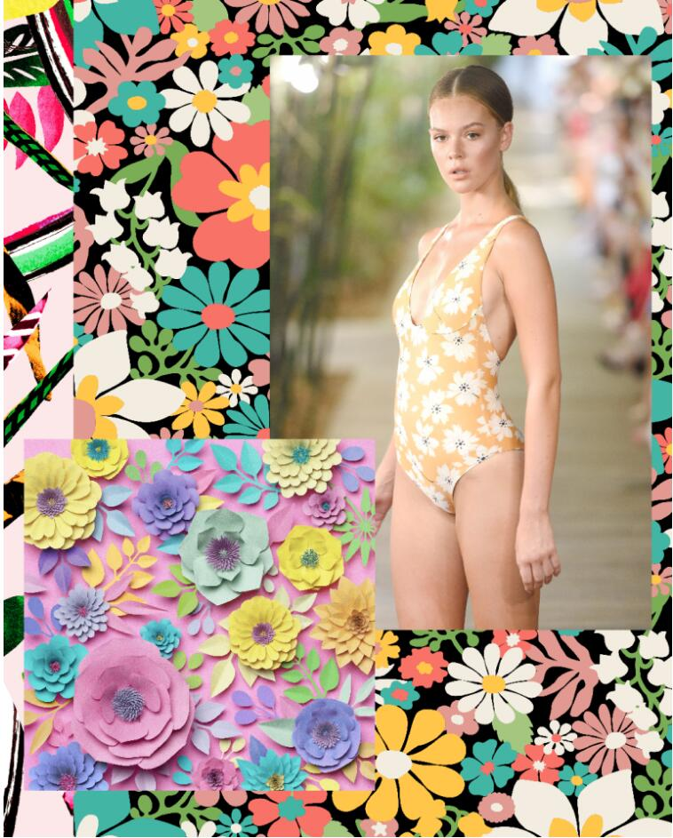 Retro Bloom Swimwear Print, Print Pattern, swimwear Trends, Spring 2020 trends, Summer 2020 trends